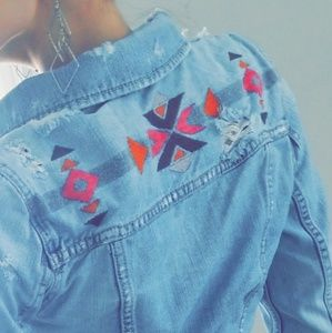 American Eagle Embroidered Ripped Denim Jacket